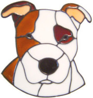 587 - Staffordshire Bull Terrier Dog - Handmade peelable static window cling decoration