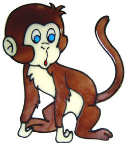 603 - Cheeky Monkey - Handmade peelable static window cling decoration