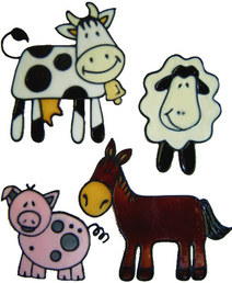 608 - Farmyard Friends - Handmade peelable static window cling decoration