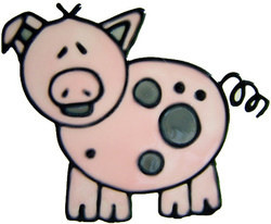 633 - Pig - Handmade peelable static window cling decoration