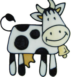 632 - Cute Cow - Handmade peelable static window cling decoration