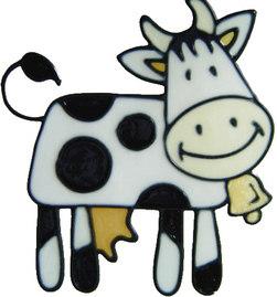 632 - Cute Cow - Handmade peelable static window cling decoration