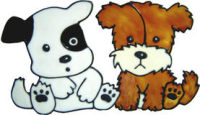 602 - Puppy Pals Dogs - Handmade peelable static window cling decoration