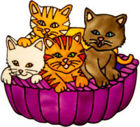 600 - Kittens in Basket - Handmade peelable static window cling decoration
