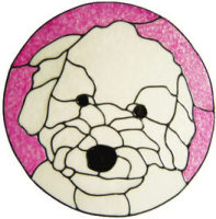 610 - Bichon Poo Dog - Handmade peelable static window cling decoration