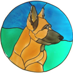 613 - German Shepherd Dog Frame - Handmade peelable static window cling dec