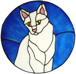 612 - Cat in Frame - Handmade peelable static window cling decoration