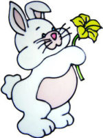 623 - Bunny with Flower - Handmade peelable static window cling decoration