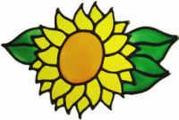 353 - Small Sunflower handmade peelable window cling decoration