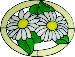 631 - Daisy Oval - Handmade peelable static window cling decoration