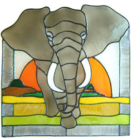 643 - Large Elephant - Handmade peelable static window cling decoration