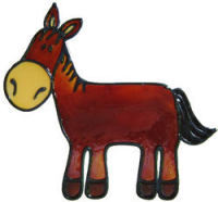 647 - Cute Horse - Handmade peelable static window cling decoration