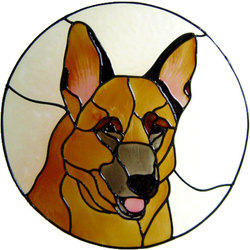 682 - German Shepherd Frame - Handmade peelable static window cling decorat