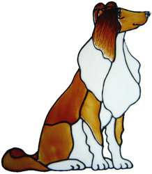 670 - Collie Dog - Handmade peelable static window cling decoration