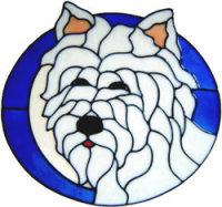 652 - Westie Dog Oval - Handmade peelable static window cling decoration