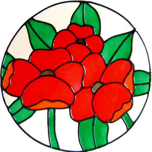 701 - Poppies Circle - Handmade peelable static window cling decoration