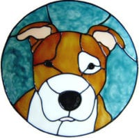 694 - Staffordshire Bull Terrier in Frame - Handmade peelable window cling decoration