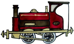 710 - Steam Engine - Handmade peelable static window cling decoration