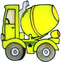 708 - Cement Mixer - Handmade peelable static window cling decoration