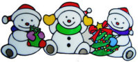 729 - Three Snowmen - Handmade peelable static window cling decoration