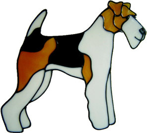 722 - Fox Terrier Dog - Handmade peelable static window cling decoration