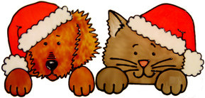 731 - Christmas Cat and Dog - Handmade peelable static window cling decorat