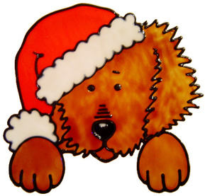736 - Christmas Dog - Handmade peelable static window cling decoration