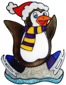 737 - Skating Penguin - Handmade peelable static window cling Christmas dec