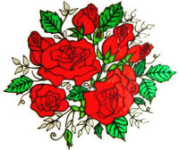 743 - Large Rose Spray - Handmade peelable window cling decoration