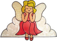 751 - Angel on Cloud - Handmade peelable window cling decoration