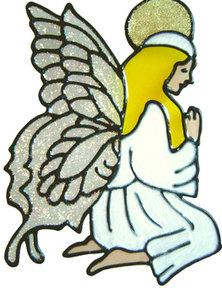 734 - Kneeling Angel - Handmade peelable static window cling decoration
