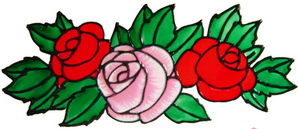 756 - Rose Trio - Handmade peelable window cling decoration