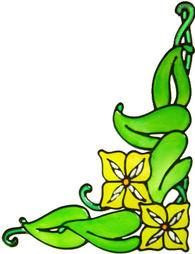 755 - Art Nouveau Flower Corners - Handmade peelable window cling decoration
