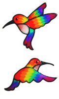1086 - Rainbow Humming Birds handmade static window cling decoration