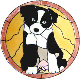 680 - Border Collie Puppy - Handmade peelable static window cling decoration