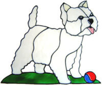 522 - Westie Dog - Handmade peelable static window cling decoration