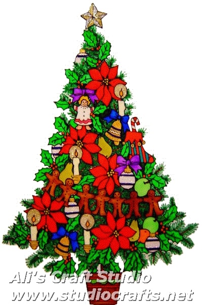 972 - Extra Large Decorated Christmas Tree handmade peelable window cling d