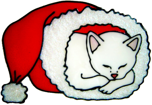 855 - Christmas Snuggle Cat handmade peelable window cling decoration