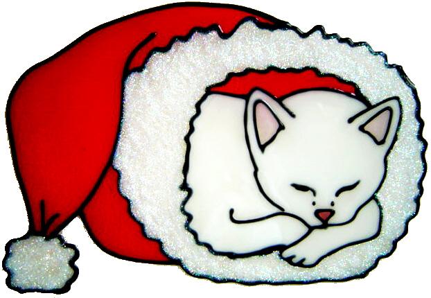 855 - Christmas Snuggle Cat handmade peelable window cling decoration