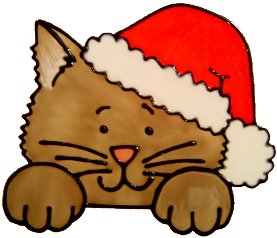 735 - Christmas Cat - Handmade peelable static window cling decoration