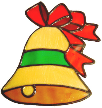 517 - Bell with Ribbon - Handmade peelable static window cling decoration