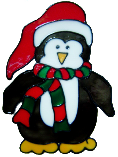 473 - Holiday Penguin - Handmade peelable static window cling Christmas dec