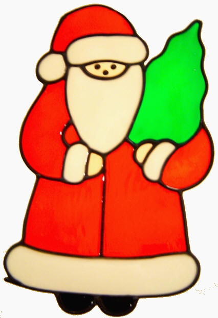 529 - Santa with Tree - Handmade peelable static window cling decoration