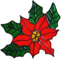 21 - Christmas Poinsetta handmade window cling decoration
