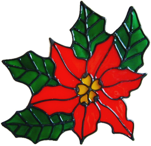 21 - Christmas Poinsetta handmade window cling decoration