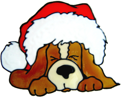 229 - Christmas Puppy handmade peelable window cling decoration