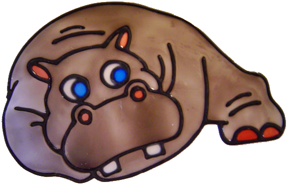 598 - Hippo - Handmade peelable static window cling decoration
