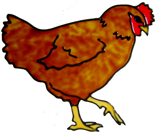 830 - Strutting Chicken handmade peelable window cling decoration