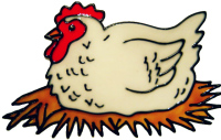 683 - Chicken - Handmade peelable static window cling decoration