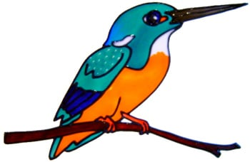 674 - Kingfisher - Handmade peelable static window cling decoration